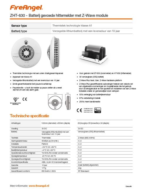 Datablad ZHT-630 met Z-WAVE module